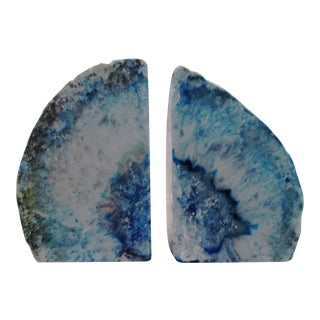Brazilian Blue Geode Bookends - A Pair