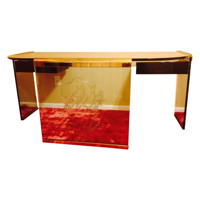 Image of Leon Rosen for Pace Collection Glass & Brass Desk