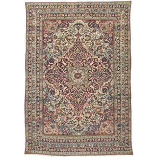 "Antique Lavar Kirman Carpet - 12'9"" x 8'11"""