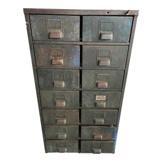 Vintage Industrial 14-Drawer Metal Cabinet