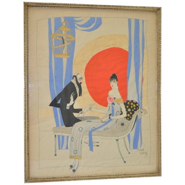 Ralph Barton (1891–1931) Art Deco Painting 1920's - Image 1 of 8