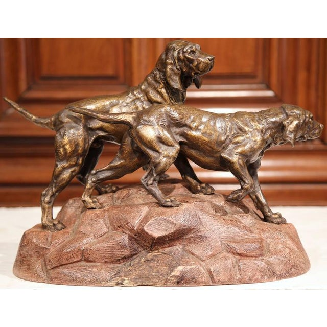 19th Century French Patinated Spelter Hunting Dog Sculpture - Image 5 of 9