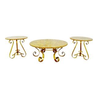 Vintage Enzo Missoni Stone & Gold Leaf Coffee & End Tables - Set of 3
