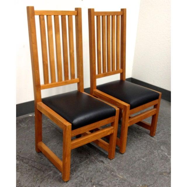 Custom Designed Teak Chairs - A Pair - Image 4 of 7