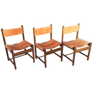 Michel Arnoult Imbuia and Leather Sling Chairs - 3
