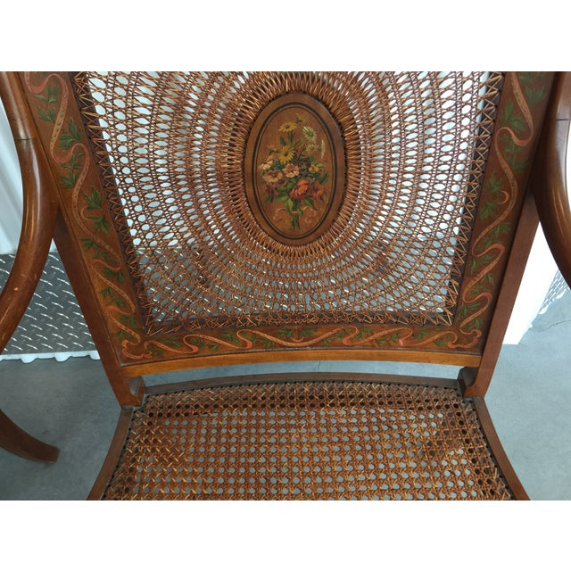 Hand Painted Satinwood Cane Back Chairs - Pair - Image 5 of 7