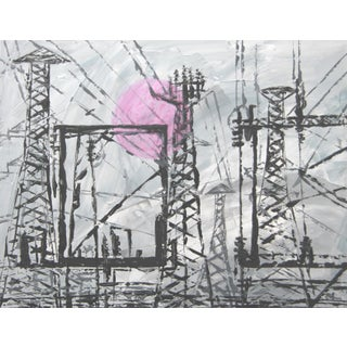 Abstract Industrial Black & White Cityscape by C. Plowden