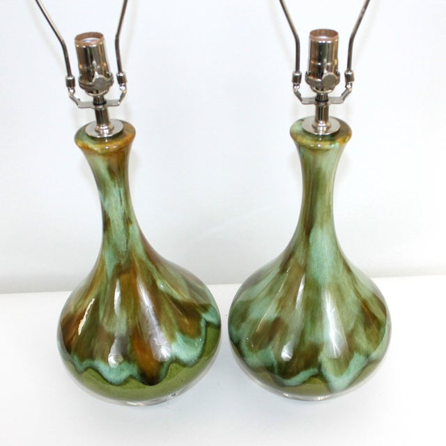 Image of Mid-Century Restored Green Pottery Lamps - Pair