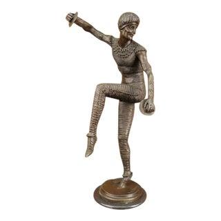 Russian Tamborine Dancer Bronze Sculpture