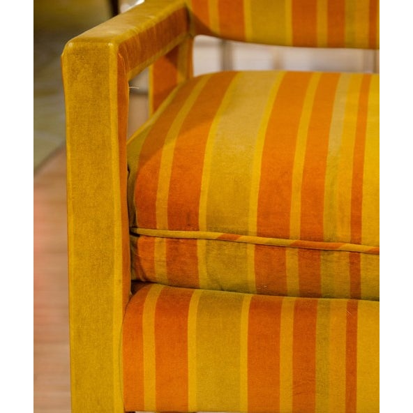 Mid-Century Orange Striped Velvet Armchairs - Pair - Image 10 of 10