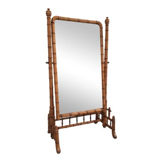 "English Antique Faux Bamboo Cheval ""Psyche"" Mirror"