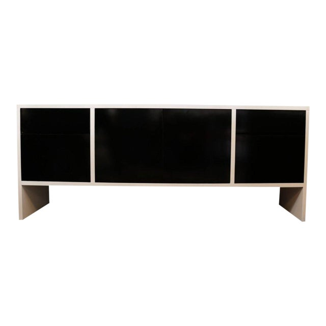 Milo Baughman White Lacquered Credenza with Contrast Doors - Image 1 of 7