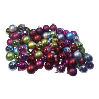 Vintage Multicolored Glass Ornaments - Set of 97
