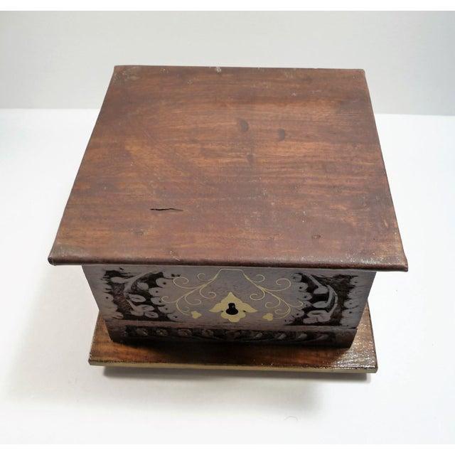 Vintage Square Carved Wood Box - Image 11 of 11