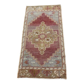 Mid-20th C. Vintage Antique Tribal Oushak Hand Knotted Turkish Rug - 1'6 X 3'1
