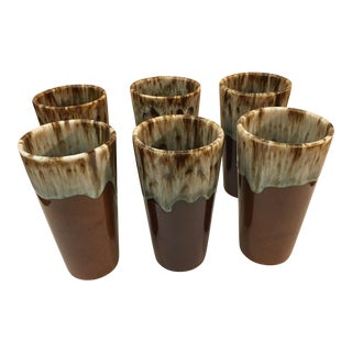 Brown & Green Drip Glaze Pottery Cups - Set of 6