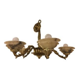 Vintage Brass & Alabaster Five Light Chandelier