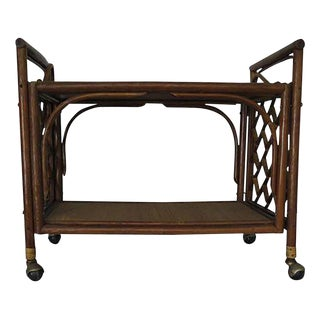 1960's Cane Wicker & Rush Bar Cart