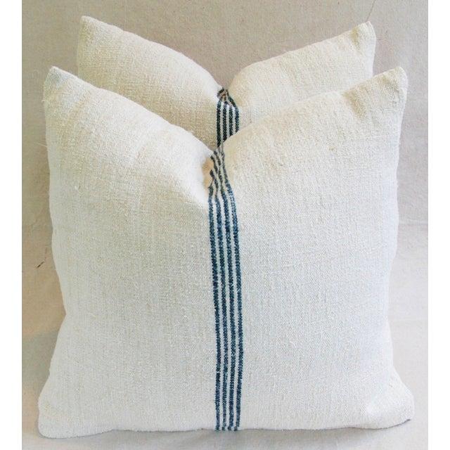 Image of Vintage French Grain Sack Textile Pillows - A Pair