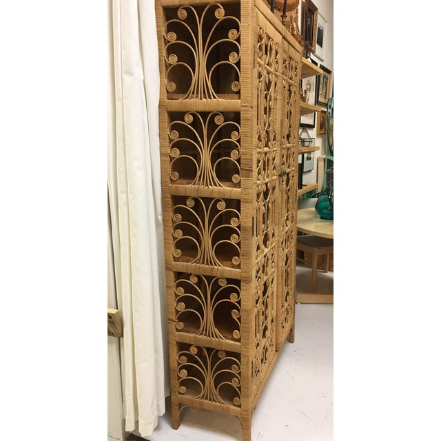 Image of Bohemian Rattan Armoire Cabinet
