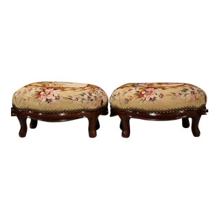 19th C. French Carved Aubusson Tapestry Stools - A Pair