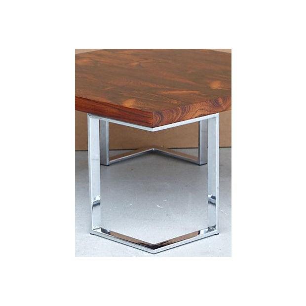 Mid Century Chrome Coffee Table: Mid-Century Rosewood & Chrome Coffee Table