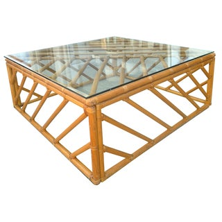 Glass and Rattan Coffee Table