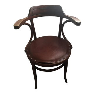 Vintage Thonet Bentwood Chair With Upholstered Leather Seat