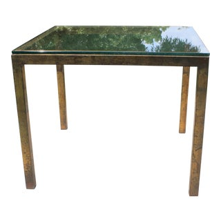 Vintage Modernist Gilt Metal Parsons Table with Thick Glass Top