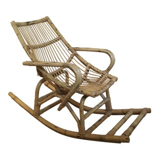 Bamboo and Rattan Child's Rocking Chair