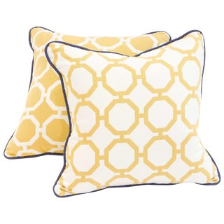 Yellow Geometric Pillows - A Pair