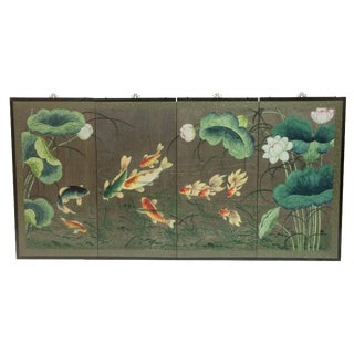 Gold Koi Fish & Lily Pads Folding Screen