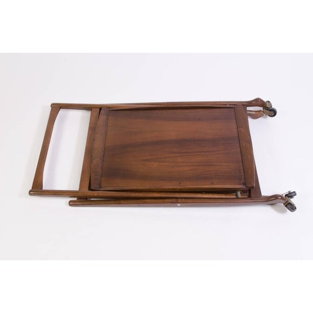 Danish Folding Walnut Bar Cart with Serving Tray - Image 8 of 10