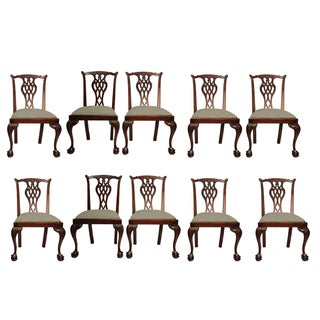 Vintage Chippendale Dining Chairs - Set of 10