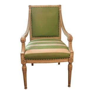 Green Leather Upholstered White Wooden Armchair