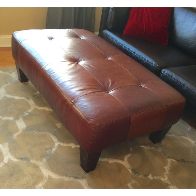 Pottery Barn Leather Ottoman - Image 2 of 3