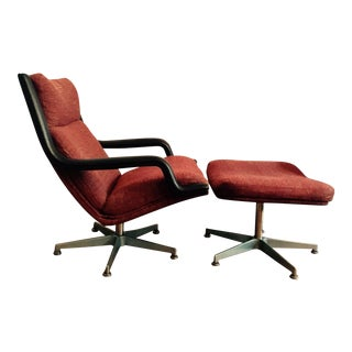 Geoffrey Harcourt Swivel Lounge Chair & Ottoman