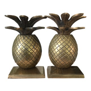 Vintage Solid Brass Pineapple Bookends - A Pair