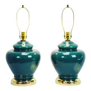 Mid-Century Green Glass Table Lamps- A Pair