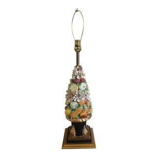 Italian Capodimonte Style Topiary Table Lamp