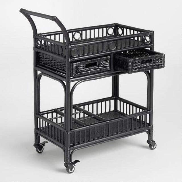 Black Rattan Bar Cart - Image 3 of 4