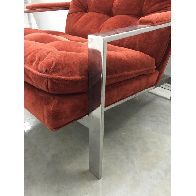 Milo Baughman Chrome and Velvet Lounge Chair - Image 6 of 7