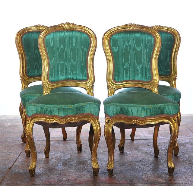 Image of Louis XVI Style Giltwood Chairs - Set of 4