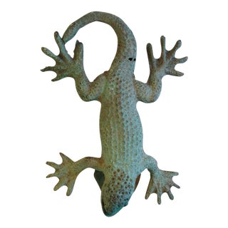 Verdigris 1970s Cast Iron Lizard Door Knocker
