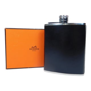 Hermes Vintage Black Leather Flask
