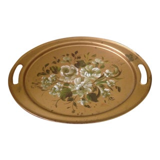 Vintage Gold Tole Serving Tray