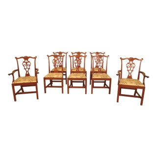 Eldred Wheeler Cherry Chippendale Dining Room Chairs - Set of 8