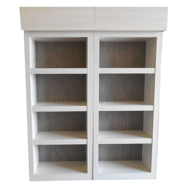 Custom Whitewash Gray Wood Bookcase Cabinets Chairish