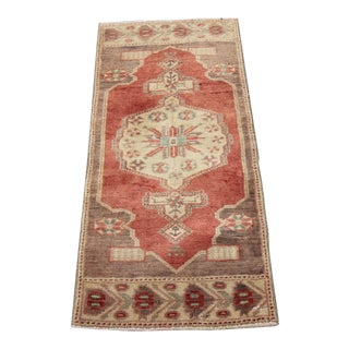 Mid-20th C. Vintage Antique Tribal Oushak Hand Knotted Turkish Rug - 1'7 X 3'