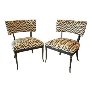 Fine Bargello Klismos Chairs, Black Painted & Parcel Gilt
